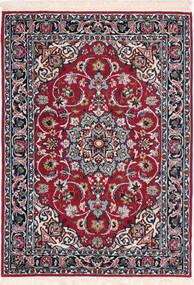Isfahan Silkesvarp Matta 72X103 Äkta Orientalisk Handknuten Mörkröd/Ljusgrå (Ull/Silke, Persien/Iran)