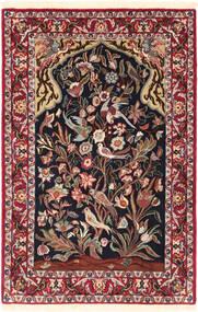 Isfahan Selyemfonal Szőnyeg 70X107 Keleti Csomózású Sötétpiros/Fekete (Gyapjú/Selyem, Perzsia/Irán)