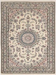 Nain 6La Teppe 90X117 Ekte Orientalsk Håndknyttet Lys Grå/Mørk Grå (Ull/Silke, Persia/Iran)