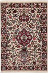 Isfahan Seidenkette Teppich 83X117 Echter Orientalischer Handgeknüpfter Dunkelbraun/Hellgrau (Wolle/Seide, Persien/Iran)