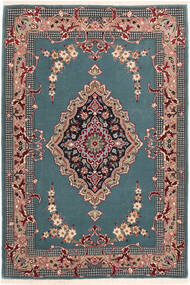 Isfahan Silk Warp Rug 85X123 Authentic  Oriental Handknotted Turquoise Blue/Black (Wool/Silk, Persia/Iran)