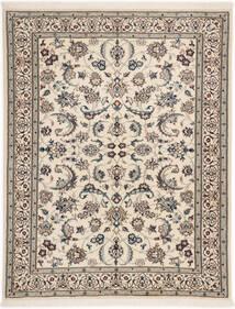 Nain 6La Teppich 98X127 Echter Orientalischer Handgeknüpfter Hellgrau/Beige (Wolle/Seide, Persien/Iran)