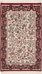 Isfahan Silk Warp Rug 80X128 Authentic Oriental Handknotted Dark Red/Beige (Wool/Silk, Persia/Iran)