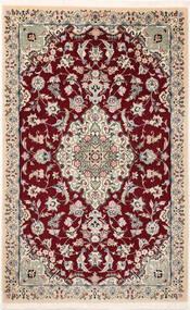 Nain 9La Sherkat Farsh Covor 90X145 Orientale Lucrat Manual Roșu-Închis/Bej (Lână/Mătase, Persia/Iran)