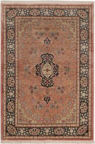 Ghom Silke Teppe 99X149 Ekte Orientalsk Håndknyttet Mørk Rød/Lysbrun (Silke, Persia/Iran)