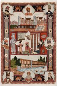 Tabriz 50 Raj Tappeto 103X150 Orientale Fatto A Mano Grigio Chiaro/Rosso Scuro/Marrone Scuro (Lana/Seta, Persia/Iran)