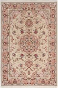 Tabriz 50 Raj Med Silke Teppe 100X152 Ekte Orientalsk Håndknyttet Lys Grå/Mørk Rød (Ull/Silke, Persia/Iran)