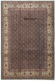 Moud Rug 197X292 Authentic  Oriental Handknotted Dark Brown/Light Grey (Wool/Silk, Persia/Iran)