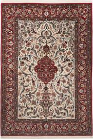 Isfahan Seidenkette Teppich  110X157 Echter Orientalischer Handgeknüpfter Dunkelbraun/Dunkelrot/Hellgrau (Wolle/Seide, Persien/Iran)