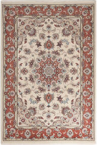 Tabriz 50 Raj Med Silke Teppe 110X158 Ekte Orientalsk Håndknyttet Lys Grå/Lysbrun (Ull/Silke, Persia/Iran)