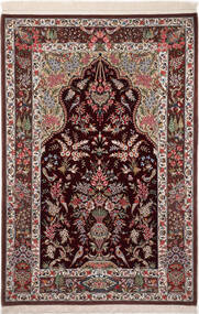 Ghom Kork/Silkki Matto 110X160 Itämainen Käsinsolmittu Tummanpunainen/Tummanruskea (Villa/Silkki, Persia/Iran)