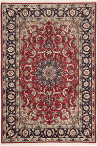 Isfahan Silk Warp Rug 110X160 Authentic  Oriental Handknotted Dark Red/Dark Brown (Wool/Silk, Persia/Iran)