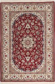 Isfahan Seidenkette Teppich  108X164 Echter Orientalischer Handgeknüpfter Dunkelrot/Hellgrau (Wolle/Seide, Persien/Iran)