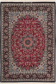 Isfahan Silkerenning Teppe 116X168 Ekte Orientalsk Håndknyttet Mørk Rød/Mørk Brun (Ull/Silke, Persia/Iran)