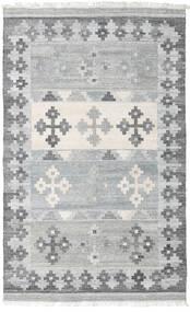 Pet Yarn Kilim Tapis 160X230 Moderne Tissé À La Main Gris Clair ( Inde)
