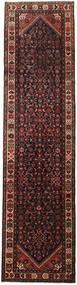 Hamadan Rug 80X312 Authentic  Oriental Handknotted Hallway Runner  Dark Red/Black (Wool, Persia/Iran)