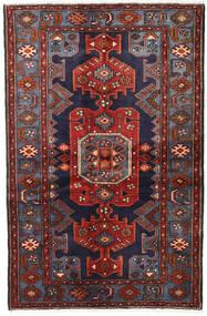 Hamadan Rug 129X201 Authentic  Oriental Handknotted Dark Red/Dark Blue/Dark Grey (Wool, Persia/Iran)