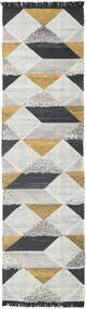 Isha - Gold Rug 80X300 Authentic  Modern Handwoven Hallway Runner  Light Grey/Dark Grey (Wool, India)