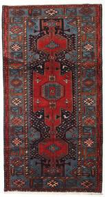 Hamadan Tapis 108X203 D'orient Fait Main Rouge Foncé/Gris Foncé (Laine, Perse/Iran)