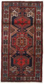 Hamadan Teppich  104X205 Echter Orientalischer Handgeknüpfter Dunkelrot/Dunkelgrau (Wolle, Persien/Iran)