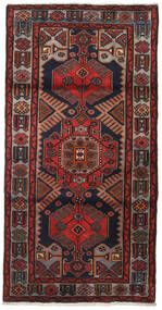 Hamadan Vloerkleed 104X205 Echt Oosters Handgeknoopt Donkerrood/Donkergrijs (Wol, Perzië/Iran)