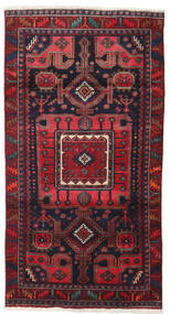 Hamadan Rug 102X197 Authentic Oriental Handknotted Dark Red/Dark Purple (Wool, Persia/Iran)