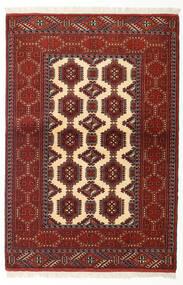 Turkaman Teppich 105X156 Echter Orientalischer Handgeknüpfter Dunkelrot/Beige (Wolle, Persien/Iran)
