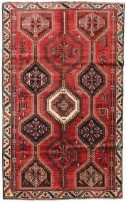 Shiraz Rug 159X257 Authentic  Oriental Handknotted Dark Brown/Dark Red/Rust Red (Wool, Persia/Iran)