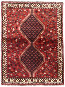 Shiraz Teppich  105X141 Echter Orientalischer Handgeknüpfter Dunkelrot/Dunkelbraun (Wolle, Persien/Iran)