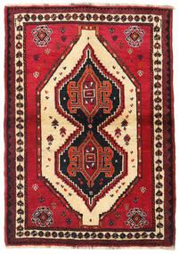 Shiraz Matto 110X158 Itämainen Käsinsolmittu Tummanpunainen/Punainen (Villa, Persia/Iran)