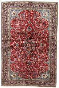 Sarough Tæppe 136X205 Ægte Orientalsk Håndknyttet Mørkerød/Mørkebrun (Uld, Persien/Iran)