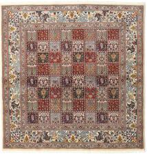 Moud Tappeto 194X200 Orientale Fatto A Mano Quadrato Grigio Chiaro/Rosso Scuro (Lana/Seta, Persia/Iran)