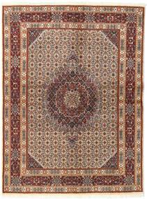 Moud Teppe 142X193 Ekte Orientalsk Håndknyttet Mørk Brun/Lysbrun (Ull/Silke, Persia/Iran)