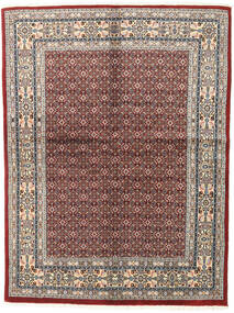 Moud Rug 147X195 Authentic Oriental Handknotted Light Grey/Dark Red (Wool/Silk, Persia/Iran)