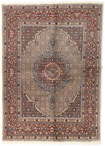 Moud Matta 144X200 Äkta Orientalisk Handknuten Ljusgrå/Mörkbrun (Ull/Silke, Persien/Iran)