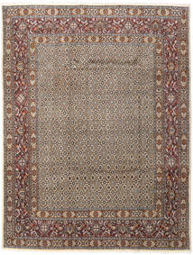 Moud Rug 196X256 Authentic  Oriental Handknotted Light Grey/Dark Brown (Wool/Silk, Persia/Iran)