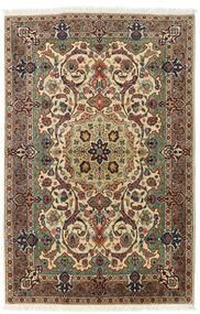 Tabriz Tæppe 99X150 Ægte Orientalsk Håndknyttet Mørkegrå/Mørk Beige (Uld, Persien/Iran)