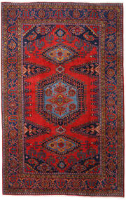 Wiss Tæppe 220X350 Ægte Orientalsk Håndknyttet Mørkerød/Mørkelilla (Uld, Persien/Iran)