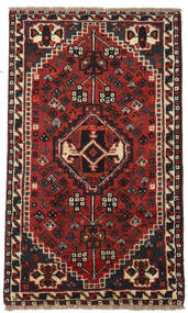 Shiraz Matta 77X129 Äkta Orientalisk Handknuten Mörkbrun/Mörkröd (Ull, Persien/Iran)