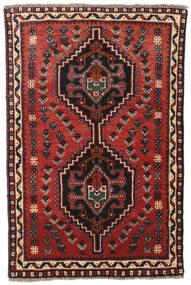 Shiraz Tæppe 81X121 Ægte Orientalsk Håndknyttet Mørkerød/Sort (Uld, Persien/Iran)