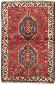 Shiraz Koberec 87X129 Orientální Ručně Tkaný Tmavě Červená/Tmavě Hnědá (Vlna, Persie/Írán)
