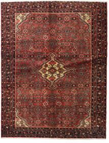 Hosseinabad Teppe 148X190 Ekte Orientalsk Håndknyttet Mørk Rød/Mørk Brun (Ull, Persia/Iran)