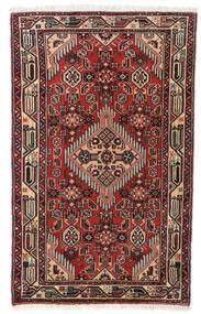 アサダバード 絨毯 75X122 オリエンタル 手織り 深紅色の/黒 (ウール, ペルシャ/イラン)