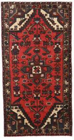Hamadan Tappeto 77X147 Orientale Fatto A Mano Nero/Rosso Scuro (Lana, Persia/Iran)