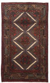 Hamadan Rug 75X130 Authentic  Oriental Handknotted Black/Dark Red/Dark Brown (Wool, Persia/Iran)