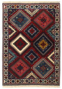 Yalameh Rug 102X145 Authentic  Oriental Handknotted Dark Red/Dark Grey (Wool, Persia/Iran)