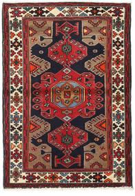 Hamadan Matto 100X147 Itämainen Käsinsolmittu Tummanruskea/Tummanpunainen (Villa, Persia/Iran)