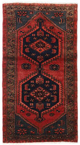 Hamadan Rug 80X150 Authentic Oriental Handknotted Dark Red/Black (Wool, Persia/Iran)