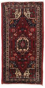Hamadan Rug 72X145 Authentic Oriental Handknotted Dark Brown/Dark Red (Wool, Persia/Iran)