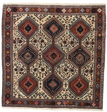 Yalameh Rug 150X160 Authentic Oriental Handknotted Square Dark Red/Black (Wool, Persia/Iran)
